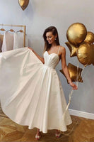 Simple sweetheart white short prom dress, white bridesmaid dress 0017