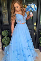 Blue tulle lace off shoulder long prom dress, tulle formal dress 002