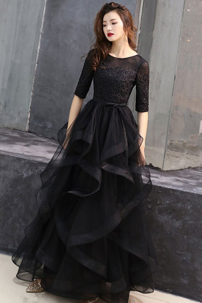 Black round neck tulle lace long prom dress, black formal dress 0024
