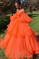 Orange sweetheart tulle long prom dress, evening dress 0028
