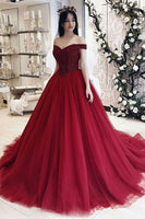 Burgundy sweetheart tulle long prom dress, burgundy evening dress 003