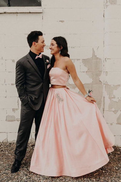 Simple two pieces satin long prom dress, pink evening dress 008