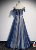 2020 Navy Blue tulle long prom dress blue evening dress A01