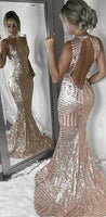 Open Back Sequin Sparkly Mermaid Fashion Sexy Elegant Prom Dresses, Evening party dress 0101