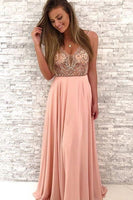 New Arrival A Line Chiffon V Neck Beaded Pink Long Prom Dresses 0107