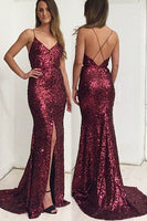 Gorgeous Prom Dress, Long Prom Dress, Burgundy Sequins Long Prom Dress 0108