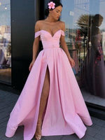 Long Prom Dresses Off The Shoulder Prom Dress Pink Long Evening Gowns 0112