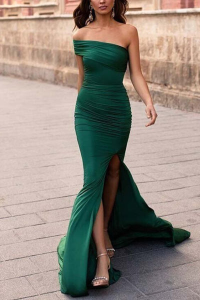 Chic Mermaid Prom Dress,High Slit Evening Dress Hunter Green Prom Gowns 0113