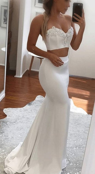 Satin Long Prom Dresses With Lace, White 2 Pieces Formal Dresses, Evening Dresses 0116
