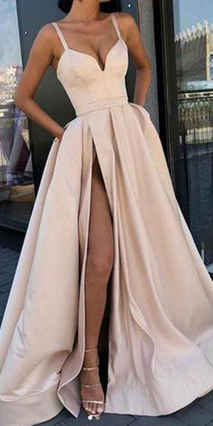 Simple A-Line Spaghetti Straps Floor-length Prom Dresses with Side Slit Evening Dresses 0119