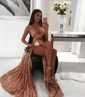 Charming Sexy Sequin Sparkly Simple Rose Gold and Black Split Fashion Popular Prom Dresses, Evening dress 0121