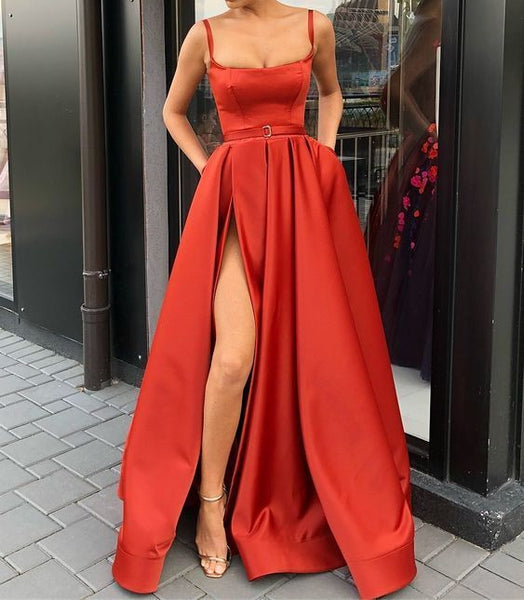 Spaghetti Straps Red Pageant Dress Prom Dresses with Slit 0130