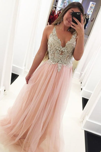 Princess V neck Tulle A-line Pink Long Evening Beading Prom Dresses 0142