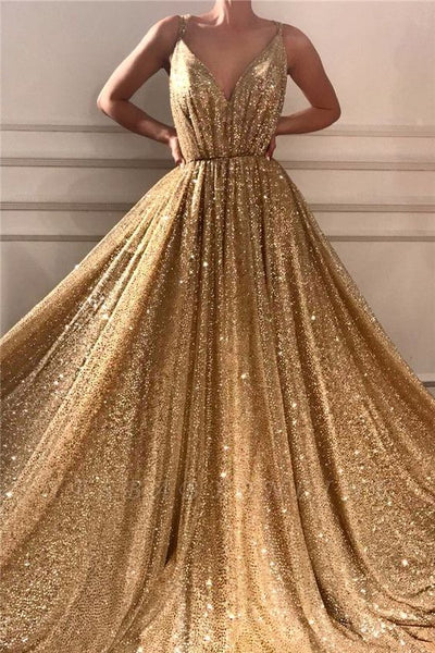 Glamorous Sequins Spaghetti Straps Long Prom Dress | Sparkle V Neck Sleeveless Gold Prom Dress  0151
