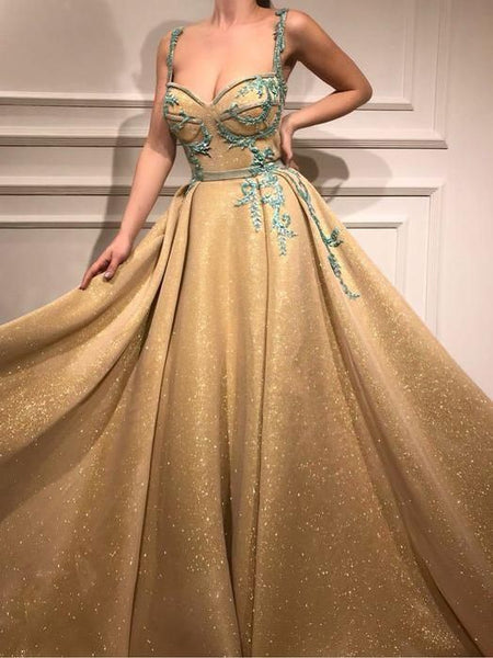 Beautiful Gold Prom Dress A-line Straps Long Prom Dresses Rhinestone Sparkly Evening Dress 0155