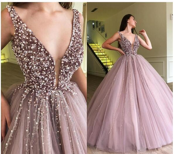 Fashion Women Party Dress A Line Deep V-Neck Long Prom Dress ,Cheap Ball Gowns Quinceanera Dress ,Women Dress For Weddings 0160