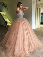 Gorgeous Beaded Ball Gown Champagne Prom Dresses Formal Dress 0162