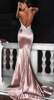Mermaid Spaghetti Straps Backless Long Pink Prom Dress with Appliques 0164