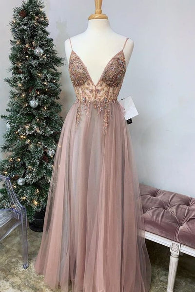 Spaghetti Straps V-neck Sheer Top Sexy Long Prom Dresses with Side Slit | Elegant Tulle Evening Dresses 0166