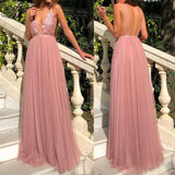 Spaghetti Straps Deep V-Neck A-Line Tulle Backless Sequin Prom Dresses 0167