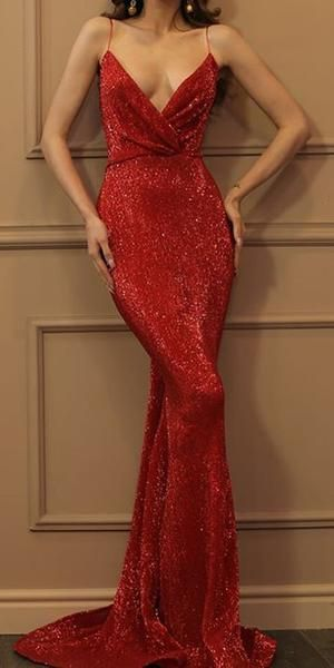 Sparkly Sequin Different Colors Mermaid Backless V-neck Sexy Prom Dresses 0171