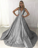 Silver Bling Bling V Neck Long Halter Prom Dress, Formal Dress 0172