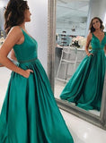 New Arrival A-Line/Princess Teal 2020 Satin Prom Dresses 0178