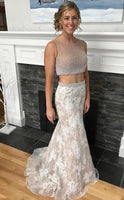 2020 New Arrival Sheath Two Pieces White Lace Prom Dresses 0180