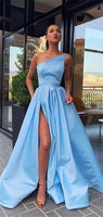 Elegant One Shoulder Prom Gown Simple Cheap Long Prom Dresses With Split 0184