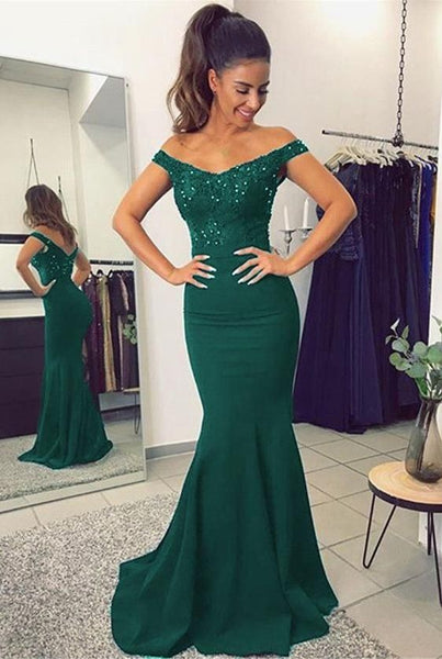 Green Mermaid Prom Dress For Teens, Prom Dresses, Graduation School Party Gown 018