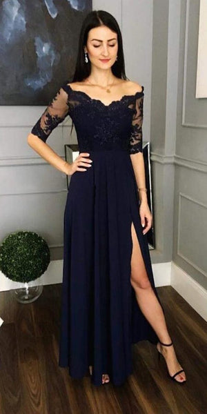 Elegant Half Sleeve Lace Navy Blue Long Prom Dress With Side Slit Custom Made Formal Evening Dress 0198