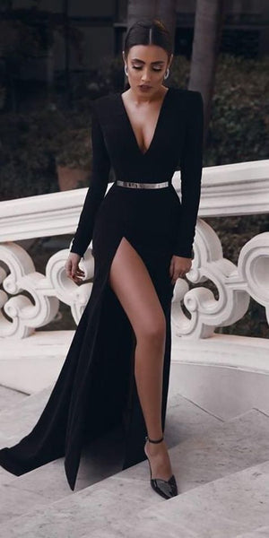Elegant Black Long Prom Dress With Side Slit Custom Made Formal Evening Dress 0199