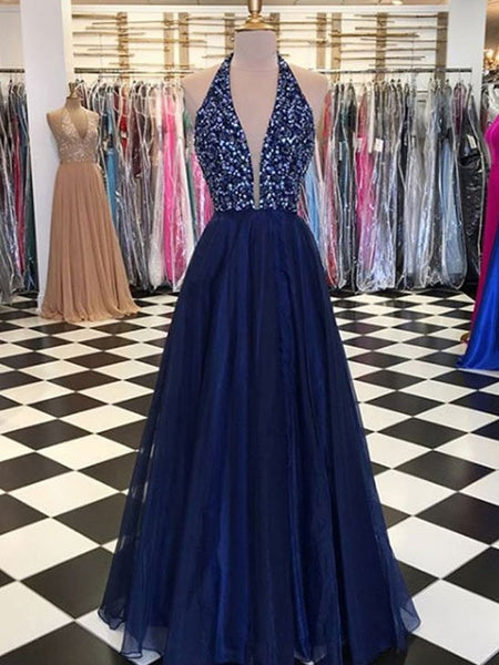 1401,Navy Prom Dress Beaded Top, Dresses For Graduation Party, Evening Dress, Formal Dress