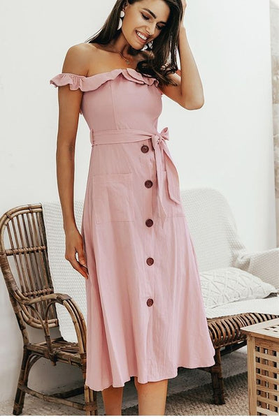 Summer Casual Dress Off the Shoulder Pink Midi Dress with Sash
