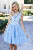 Elegant Jewel Short Cheap Light Blue Tulle Homecoming Party Dresses with Lace KO50