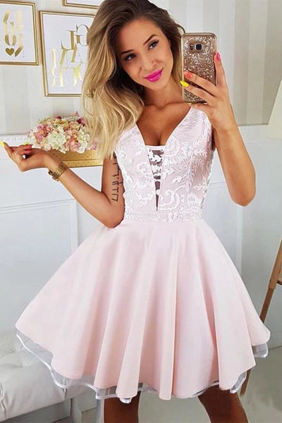 Pink Appliqued A Line Homecoming Dresses V Neck Short Hoco Dress KO9