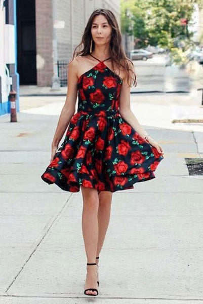 A-Line Cross V-Neck Above Knee Floral Satin Homecoming Dresses KO44