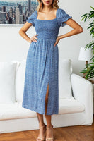 Summer Casual Dress Square Neck Blue Midi Dress with Puff Sleeves