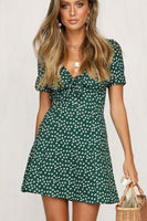 Summer Casual Dress Vintage Style Little Daisy Prined Short Green Sundress