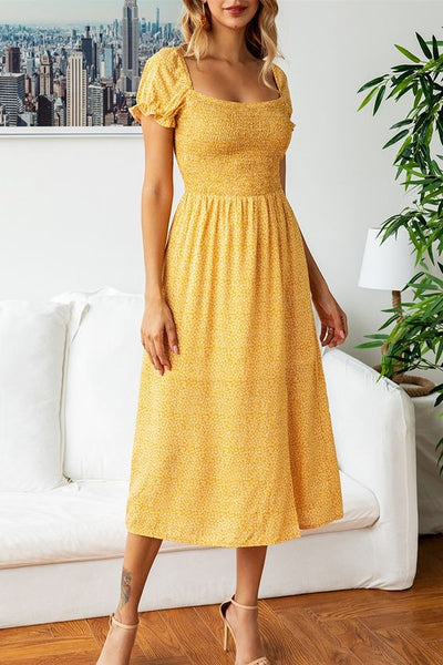 Summer Casual Dress Square Neck Midi Dress with Puff Sleeves