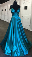 Simple V-neck A-line Long Prom Dress Fashion Fall Formal Dress Popular Wedding Party Dress 0203