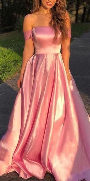 pink satin prom dress with off the shoulder, elegant long prom dress 0204