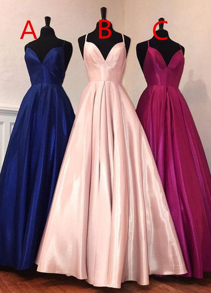Simple v neck satin long prom dress, evening dress 0205