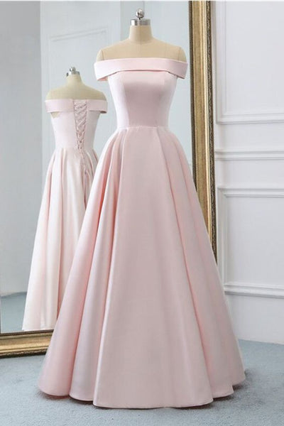 Pink Satin Long Evening Dress With Pockets, Pink Prom Gowns 0209