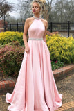 Charming High Neck Pink Beaded Long Prom Dress, Open Back Evening Dress 0213