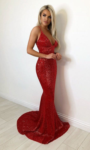 Charming Sleeveless Strap Lace Sequin Mermaid Evening Dress, Red Prom Dress 0214