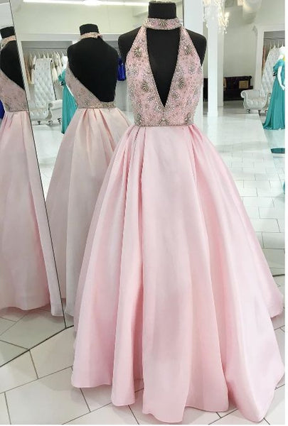 Charming V-Neck Beaded Ball Gown Prom Dress,Long Pink Evening Dress,Long Prom Dresses,Prom Dresses 0219