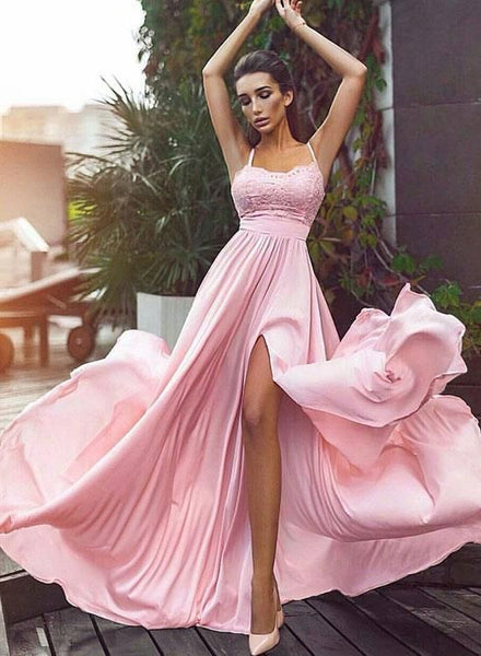 Sweet A-Line Spaghetti Straps Pink Chiffon Long Prom Dress with Split Front 0221