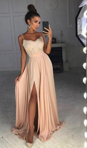 Simple A-line Long Prom Dress With Slit School Dance Dress Fashion Winter Formal Dress 0223