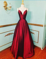 burgundy satin V neck long prom dress, prom dresses 0233